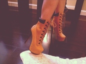 sexy shoes,high heels,platform lace up boots,lace up boots,tan,camel,camel shoes,boots,winter boots,dope,shoes,high heels boots