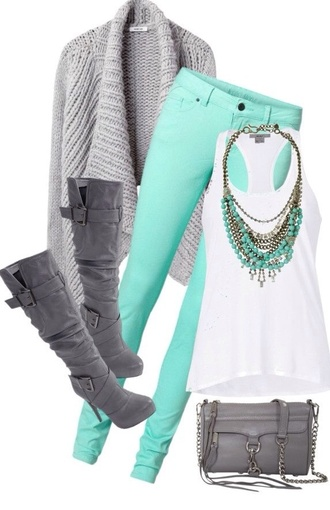 pants shoes jewels jewerly necklace top romper bag jeans cute bright awesome grey boots cardigan matching necklace boots gray bag cute sweater fall outfits mint jeans blouse style back to school