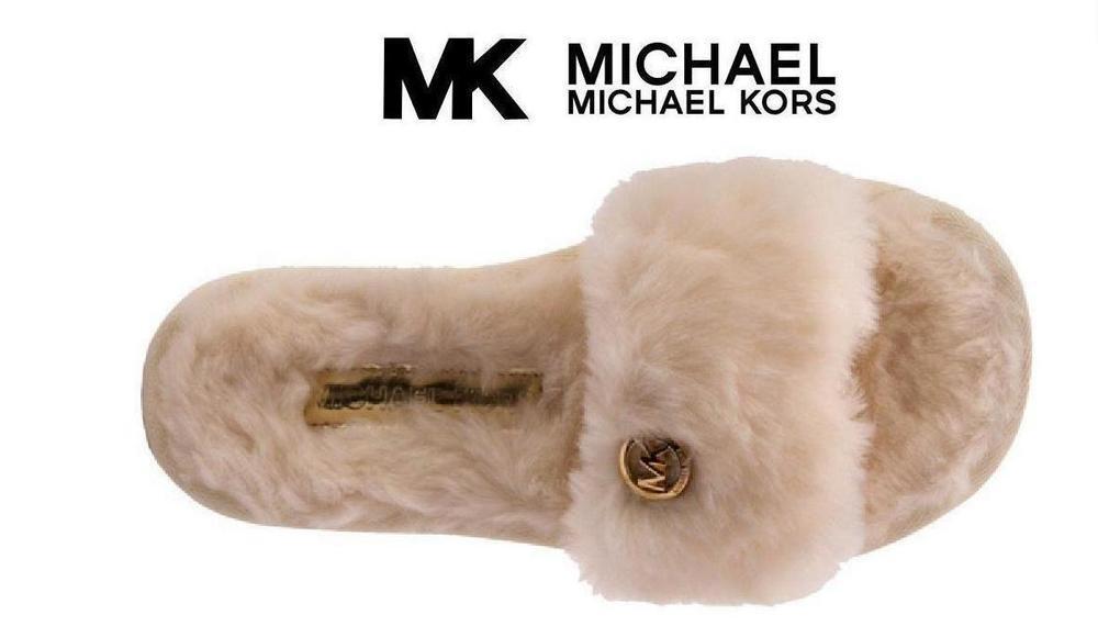 54ef5fedeb3c ... Sandals Michael Kors Jet Set MK Slide Slippers Pink with Gold Accent ...