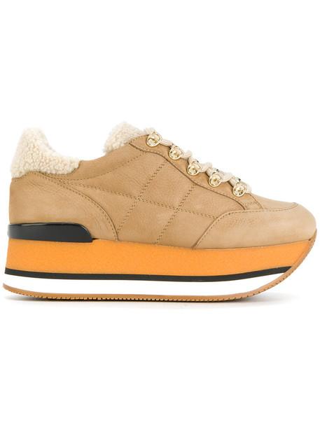 Hogan women sneakers platform sneakers leather nude shoes