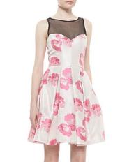 dress,bqueen,fashion,mesh,sexy,chic,cute,girl,lovely,flowers,net,mosaic,print,swing