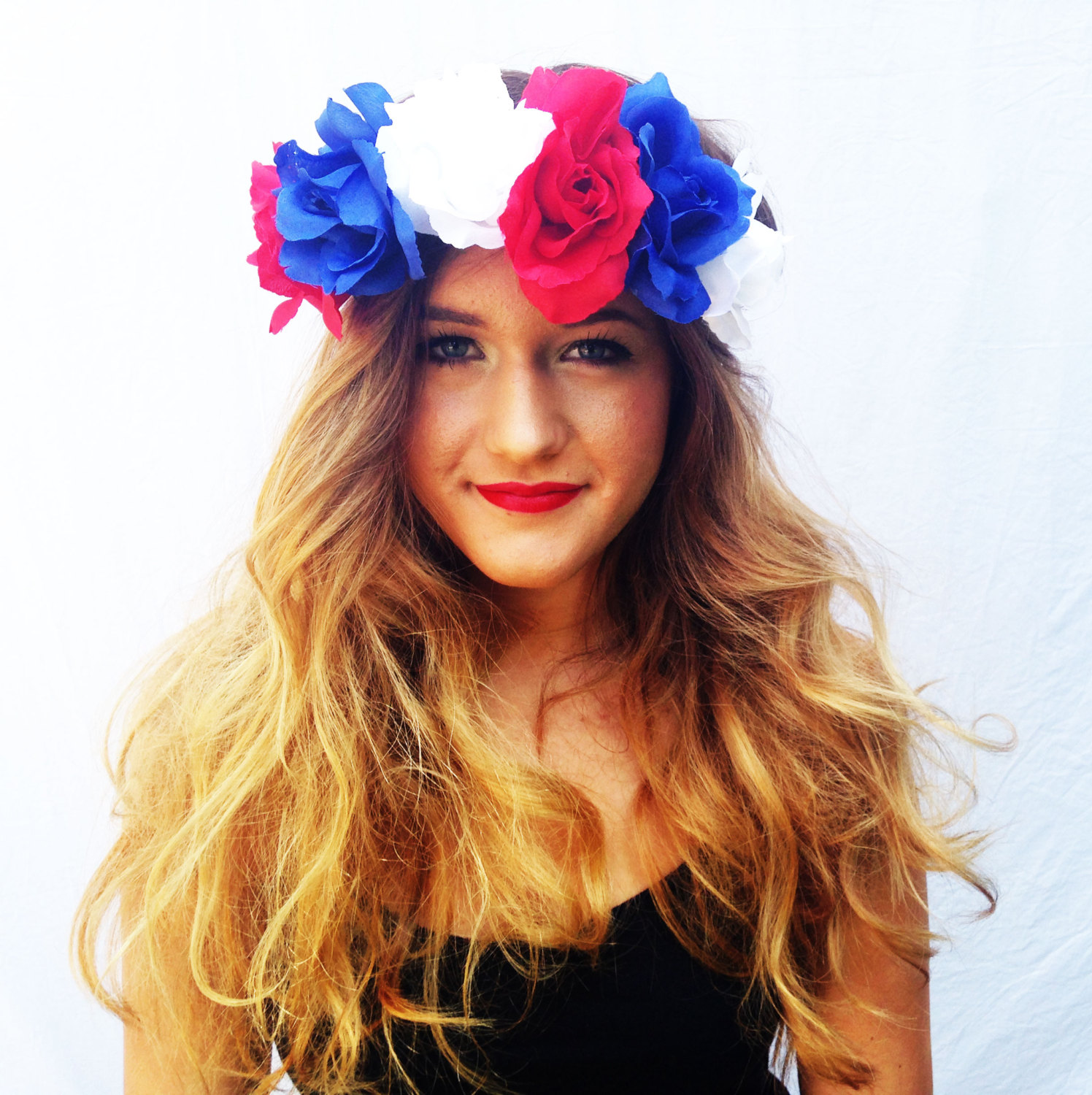 Red White And Blue Flower Crown Roses Floral Headband Coachella Hair