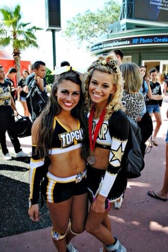 dress top top gun gun cheerleading leading allstar gold black white skirt crop too glitter uniform