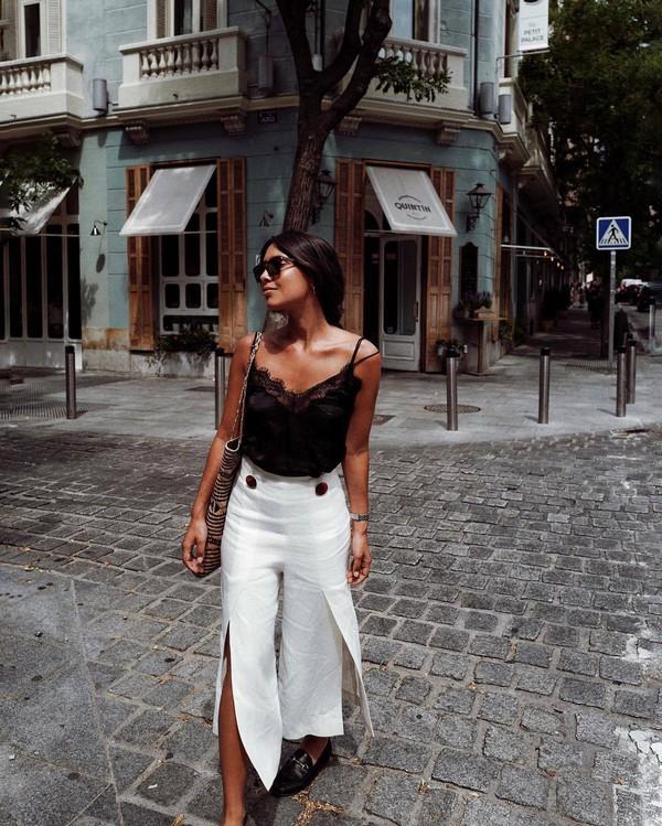 top lace top black top pants sunglasses