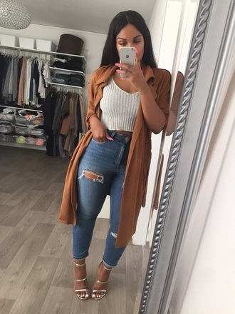 coat brown coat slick fashion ripped jeans outfit cute trench coat camel coat top crop tops grey tan tumblr jacket tumblr girl long jacket