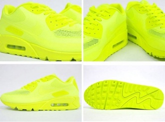 shoes trainers nike neon neon yellow nike air max 90 hyperfuse airmax90 yellownike yellownikeairmax90 menswear