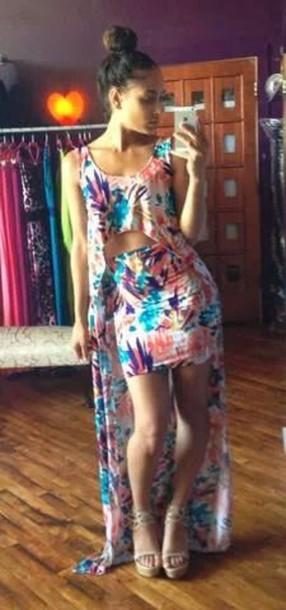 blouse skirt milticolor dress multi print high low long top