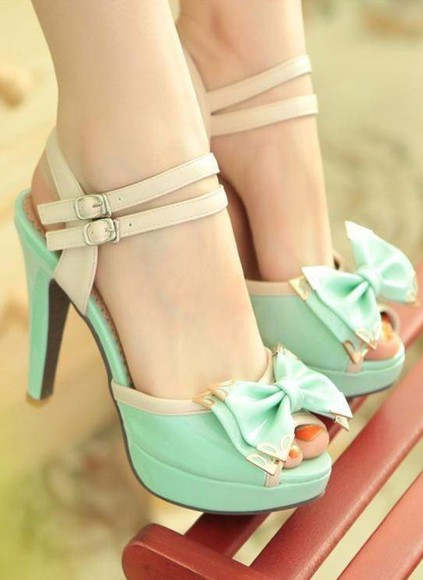 nude gold heels mint mint green shoes sandals strappy heels strappy sandals bow tie heels cute high heels platform sandals
