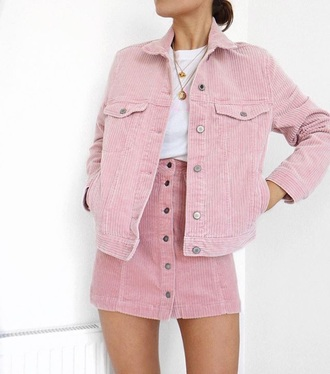 skirt pink skirt corduroy corduroy skirt corduroy jacket pink jacket jacket mini skirt white t-shirt t-shirt