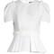 Puff-sleeved pleated-peplum cotton top
