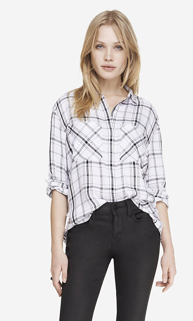 Oversized plaid shirt black and white from express for Black and white checker shirt