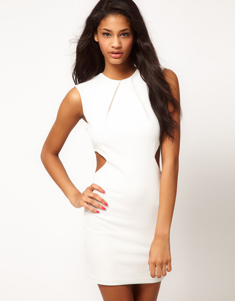 Asos Bodycon Dress with Cut Out Sides in White | Lyst