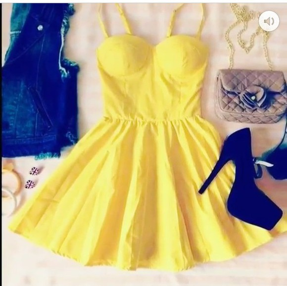 sexy dress fashion yellow dress summer dress classy short dress blouse