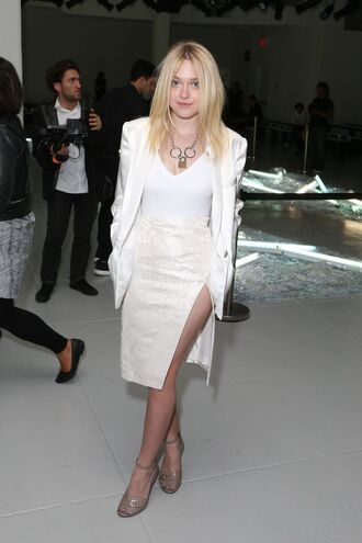 white fashion week 2014 jacket skirt dakota fanning