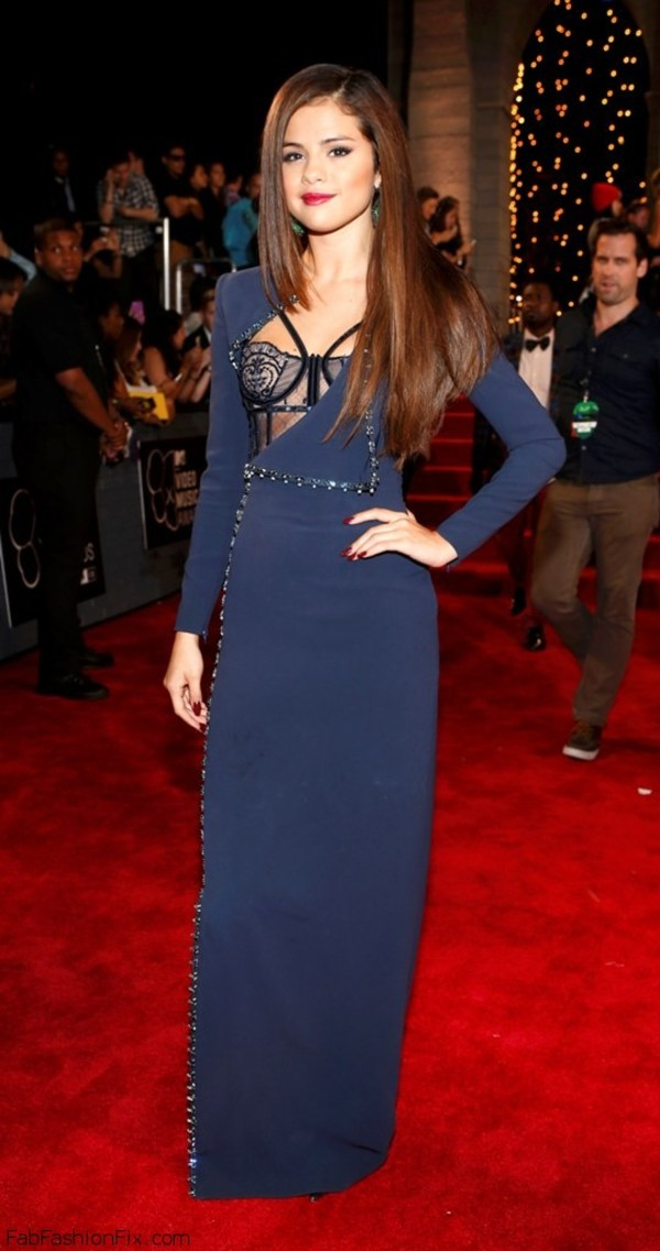 dress selena gomez long dress navy mtv celebrity style
