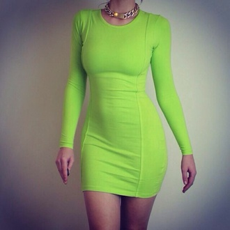 dress bodycon dress lime green dress beautiful gold party dress party fashion body curves green brown hair lime green dress gold necklace neon dress long sleeve dress green and yellow