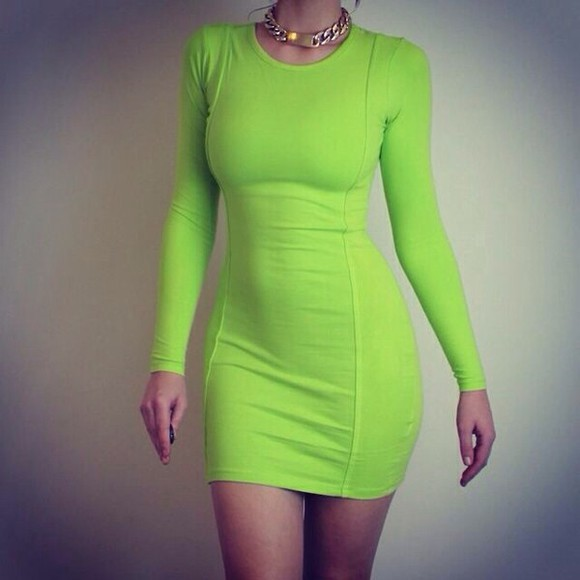 dress long sleeved dress neon dress green and yellow lime green bodycon dress green dress green beautiful brown hair curves body fashion party gold lime green dress party dress gold necklace