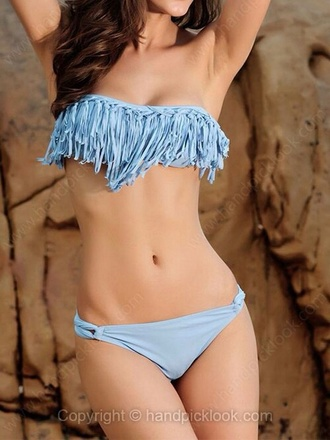 swimwear strapless tassel blue swimwear
