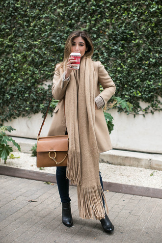 scarf tumblr winter scarf coat camel camel coat bag brown bag boots black boots ankle boots