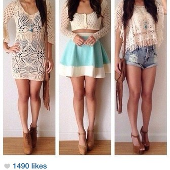 skirt sweater shoes top shorts crop tops middle one crochet the middle