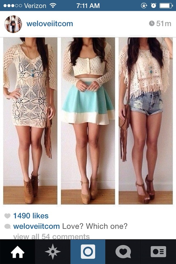 top middle one crop tops crochet sweater shorts shoes skirt