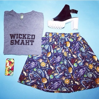 skirt space hipster shirt t-shirt crop tops shoes high heels platform shoes vintage 90s style 90s grunge grunge hippie galaxy print tank top