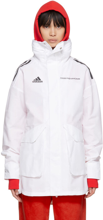 coat adidas originals white
