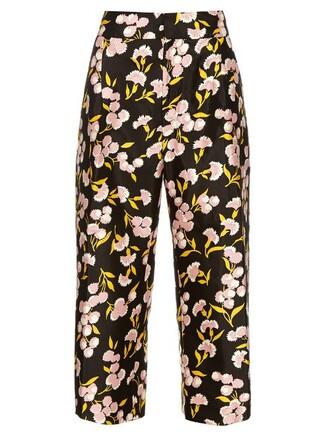 floral cotton print black pants