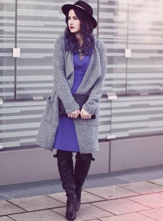 like a riot blogger coat jewels hat bag purple dress winter outfits grey coat fuzzy coat winter coat black boots