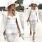 Crochet midi bandage dress white