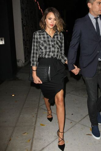 skirt asymmetrical high low jessica alba shirt pumps shoes