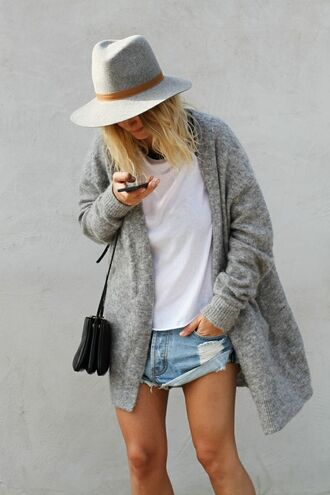 cardigan bag shoes shorts grey weekend white t-shirt little black bag black wool fedora clothes