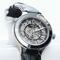 Automatic black leather watch -noir