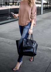 krystal schlegel,blogger,sweater,shoes,jeans,sunglasses,underwear,beige sweater,handbag,black bag,high heel sandals,sandals,skinny jeans,celine bag,tumblr,grey sandals,sandal heels,bag,nude sweater,denim,blue jeans