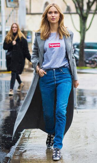 coat tumblr logo logo tee t-shirt white t-shirt grey coat long coat denim jeans blue jeans boots embellished streetstyle fall outfits grey long coat