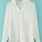 Stylish lapel semi-sheer blouse