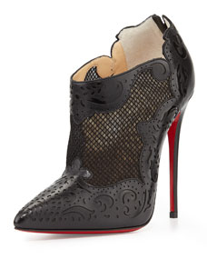 Cut mesh red sole bootie, black