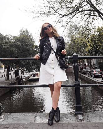 dress black jacket tumblr white dress button up mini dress asos jacket leather jacket black leather jacket boots ankle boots sunglasses