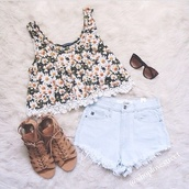 blouse,top and shoes too,shoes,shorts,tank top,daisy,top,daisy top,cute,pink by victorias secret,lace,summer,summer outfits,white,yellow,yellow top,black,style,tumblr girl,tumblr,t-shirt,cute floral top,fleurie,dress,shirt,sunflower,flowers,brown,sandles,crop tops,girly,floral,crochet,sunglasses,daisy shirt,sandals,flowy,green,fashion,outfit,boho,sleeveless,girlie,sweet,pretty,hippie,cardigan