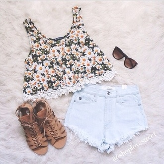 blouse top and shoes too shoes shorts pants tank top daisy top daisy top cute pink by victorias secret lace summer summer outfits white yellow yellow top black style tumblr girl tumblr t-shirt cute floral top fleurie dress shirt sunflower flowers brown sandles girly floral crochet sandals flowy green fashion outfit