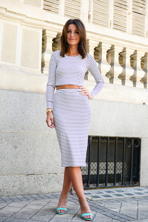 lovely pepa navy crop tops pencil skirt matching skirt and top preppy skirt