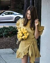 dress,tumblr,ruffle,ruffle dress,mini dress,wrap dress,summer dress,summer outfits,date outfit