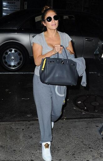 pants top sweatpants grey sneakers purse shoes