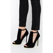 shoes,peep toe heels,suede,black,fashion,high heels,heels,fsjshoes