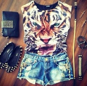 shirt,clothes,shorts,ballerina,studs,tiger,t-shirt,tiger shirt,tiger face,jewels,animal face print