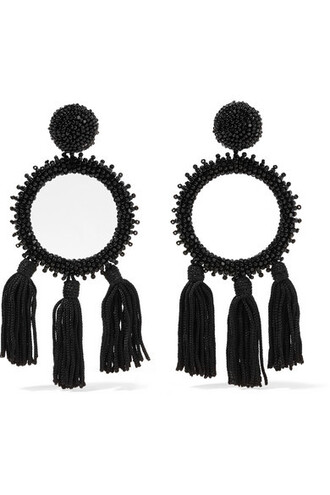 beaded earrings black jewels