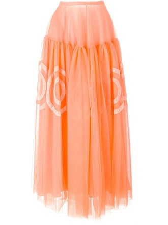 skirt long skirt long yellow orange