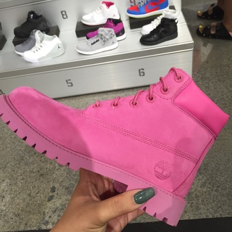 shoes timberland pink hot pink tumblr timberland boots shoes tumblr outfit cute streetwear timberlands