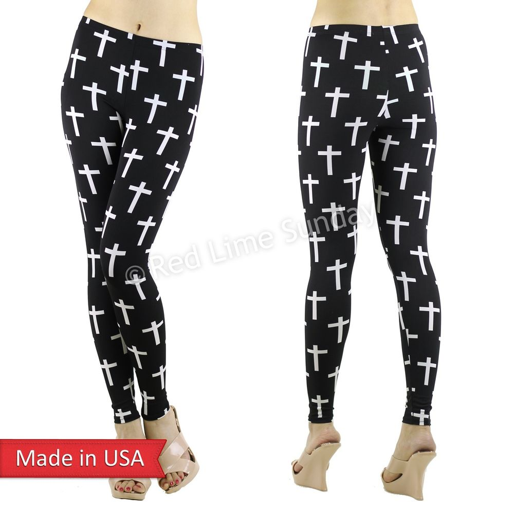 Women Black White Goth Emo Cross Pattern Stretchy Print Leggings Tights Pants US