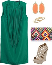 dress,green,tassel,aztec,indian,earrings,bag,wedges,fashionista,turquoise,perfect